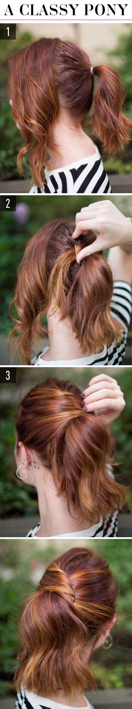 1.Picture 2Separate your hair into two even sections, one in the front and one in the back, and secure the back half into a ponytail. 2.Pull the right half of the front section across the back of your head over your hair tie, and pin it on top of the ponytail to cover the elastic. 3.Pull the front left section across the back of your head, draping it over the ponytail, and pin it securely to your head. Done!