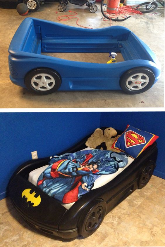 We could buy that bed, paint it, and make sutton a big boy room a comic book/super hero theme. I don't think we'd have to repaint...