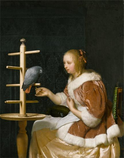 Frans van Mieris the Elder, A Young Woman feeding a Parrot, 1663, Private…:
