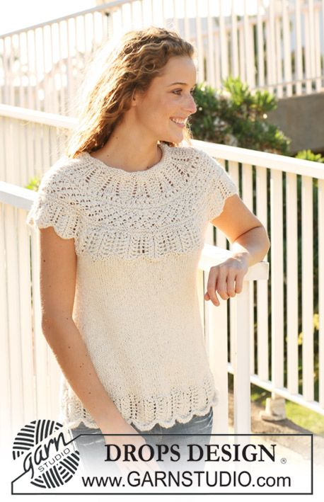 "Knitted DROPS top with yoke in textured pattern in ""Silke Alpaca"". Size S - XXXL. ~ DROPS Design:"