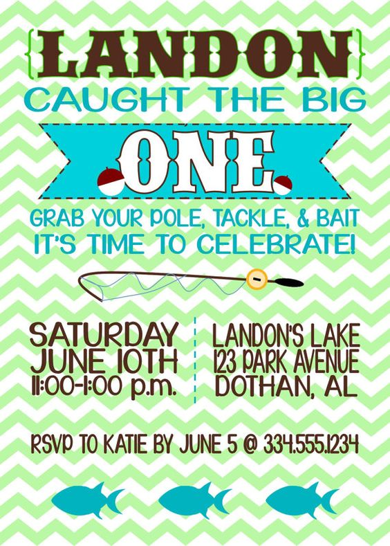 First birthdays vintage invitations and fishing on pinterest for Fishing first birthday