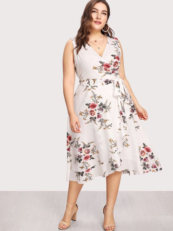 Flower Print Belted Wrap Dress -SheIn Such a beautiful spring dress for Easter!  #affiliate