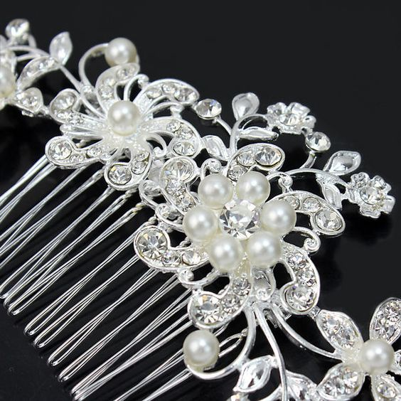 Stunning Silver Rhinestone Crystal Pearl Hair Comb Party Clip Bridal Accessory