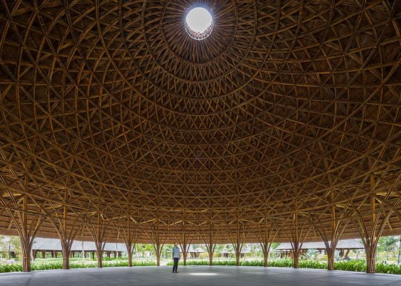 Vo Trong Nghia creates bamboo and thatch domes in Vietnam: