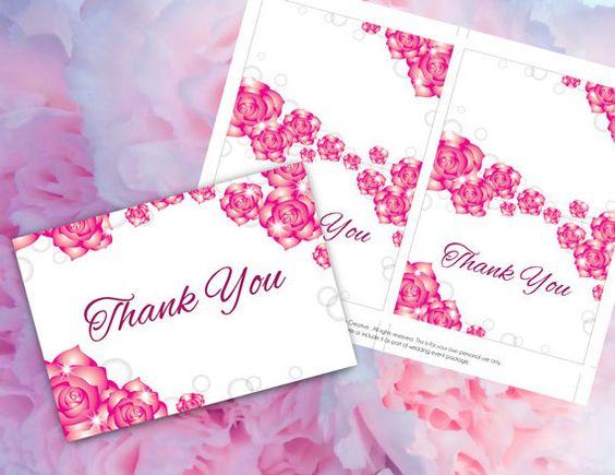 DIY Printable Wedding Thank You Card Template – Microsoft Word Thank You Card Template