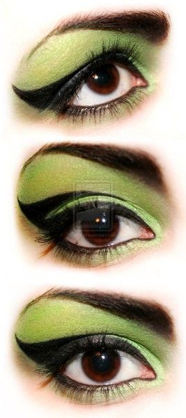 Green witch make up.  Hint of the Wizard of Oz without the fully green face.