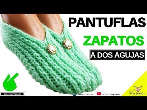 Tejiendo Pantuflas Babuchas Con Botón Dorado A Dos Agujas Tejidos A Dos Agujas Youtube Pantuflas Zapatillas Tejidas A Crochet Como Tejer Pantuflas