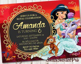 Invitación de princesa Jasmine Disney invitan a por MaluhiaPrints