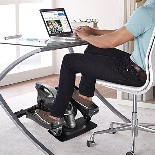 Ideer Life Under Desk Stand Up Exercise Bike Mini Elliptical Trainers Stepper Pedal W Adjustable Resistance And Lcd Display Fitness Exercise Peddler For Home Of Office Ideas For Work Small Office Room Work Space Organization