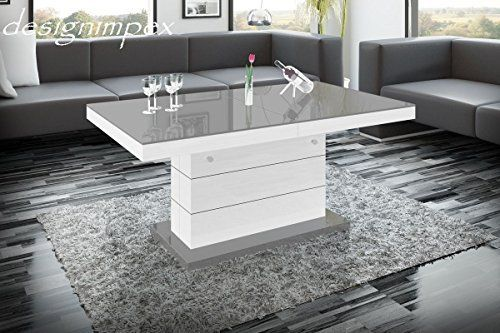 Design Couchtisch H-333 Weiß   Grau Hochglanz höhenverstellbar - küche hochglanz weiss