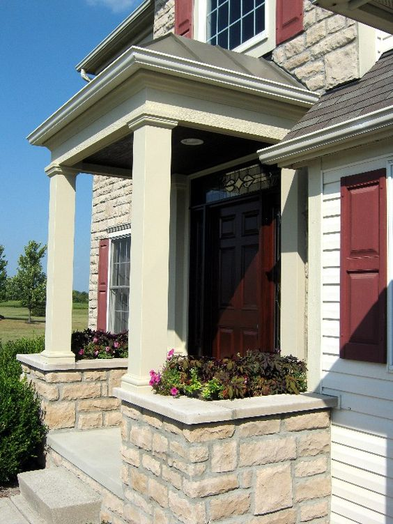 Covered front entry porch for the for Portico entrance with columns