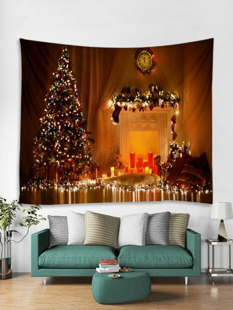 Christmas Fireplace Tree Print Tapestry Wall Hanging Art Decoration Tapestry Decoration Christmas Fireplace Tapestry Wall Hanging