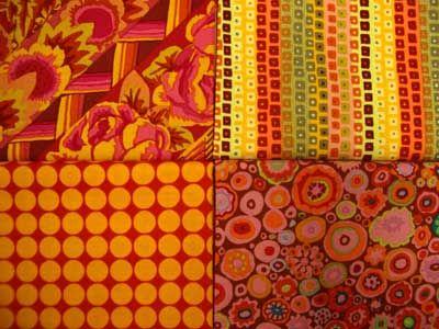 yellow, orange and red fabrics