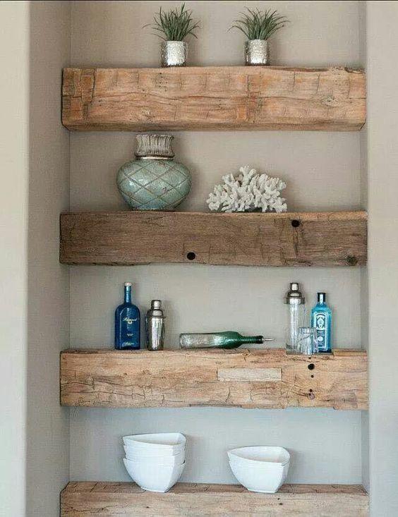 Repurposed wood shelves