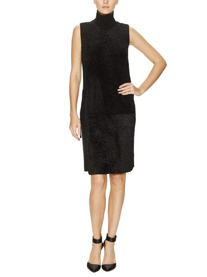 Pia Wool Cashmere Shearling Front Dress by Calvin Klein Collection at Gilt