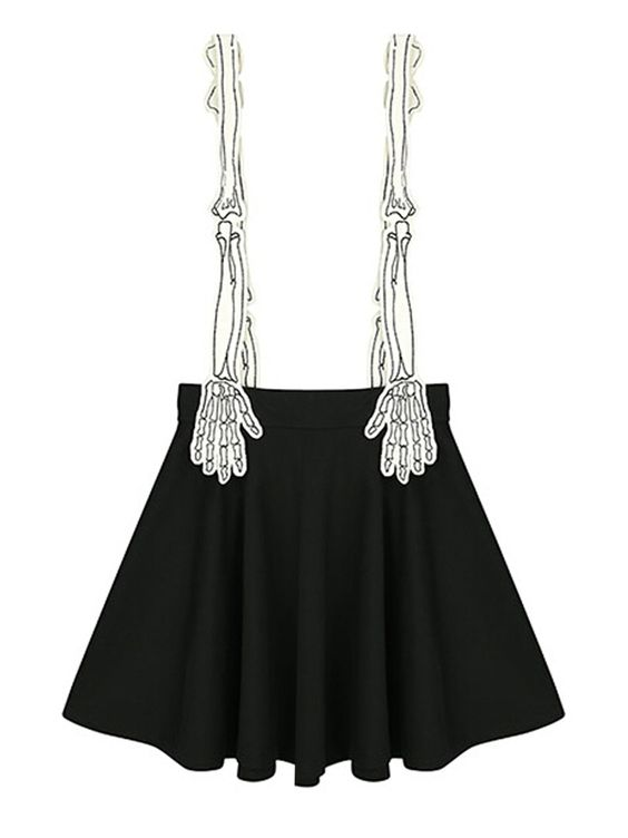 Black Contrast Skeleton Hand Shoulder Strap Pleat Overall Skirt   Choies