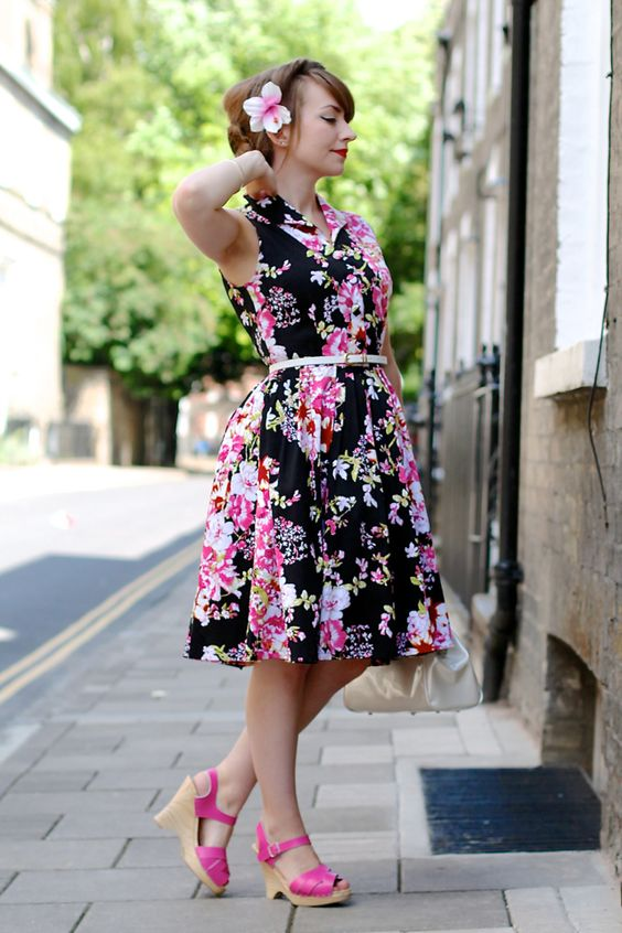 Voodoo Vixen Tilly dress + Sandgrens pink clogs