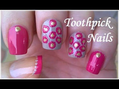 Toothpick Nail Art Tutorial #4 - Elegant Pink / Gold / Light Brown Nails Design - http://www.nailtech6.com/toothpick-nail-art-tutorial-4-elegant-pink-gold-light-brown-nails-design/