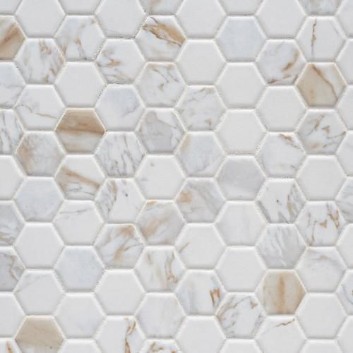 Calacatta Oro Hexagon Ceramic Mosaic Ceramic Floor Tile Ceramic Floor Hexagonal Mosaic