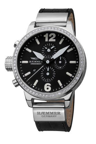 """Haemmer Women's DHC-01 Secrets Crystal Bezel Black Dial Chronograph Watch Haemmer. $531.25. Chronograph function; Sub-second. Swarovski crystal bezel ring. Luminous hands and indices; Genuine black leather strap with double tang """"H"""" buckle clasp. Water-resistant to 330 feet (100 M). Polished case; Screw-down crown. Save 15%!"""