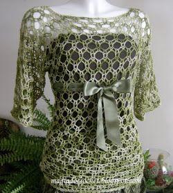 """Magia do Crochet: Blusa em crochet """"Elegance""""-matizada de verde"""