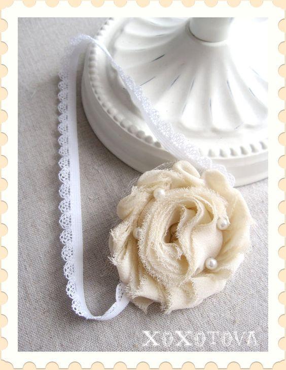 LAST ONE lush winter white stretch headband by xoxotova on Etsy, $9.99