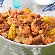 """The Original OLD BAY Shrimp Boil.  Leave out the beer, forget the """"lean"""" in sausage, use Green Giant Sweet frozen ears, and if short on time, just use cans of whole potatoes.  Onions optional, I prefer without."""