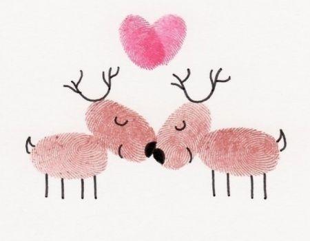 Tuto carte de voeux : rennes en empreintes