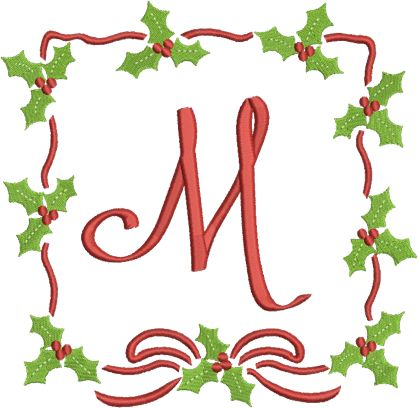 Holly wreath monogram alphabet from applique corner have for Alphabet christmas wreath