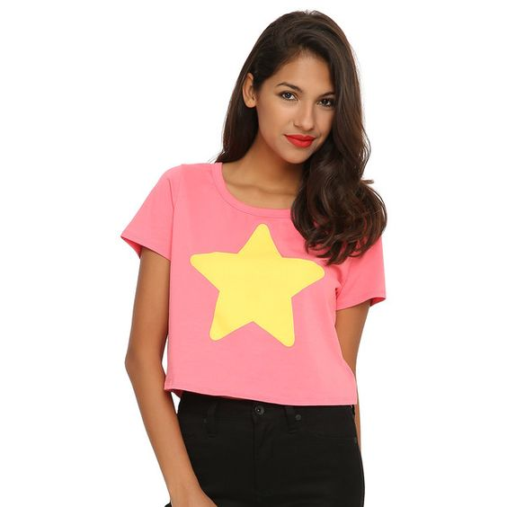 Cartoon Network Steven Universe Star Girls Cosplay Crop Top (£14) ❤ liked on Polyvore featuring tops, cartoon, red crop top, cartoon network, star print top, crop top and red top