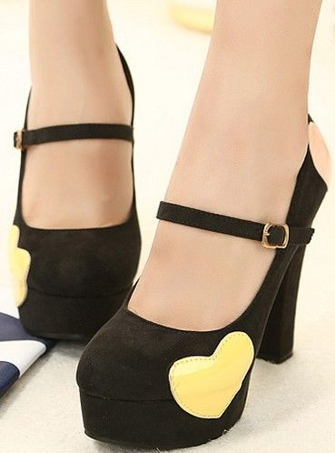 Korean Style Cusp Thick Heels Shoes Red Red PM0509