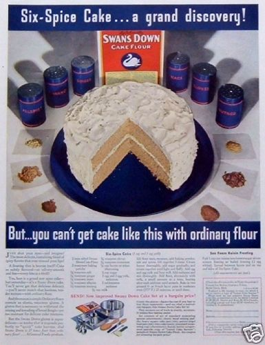 1935 General Foods Swans Down Flour Six Spice Cake Recipe Vintage Print Ad
