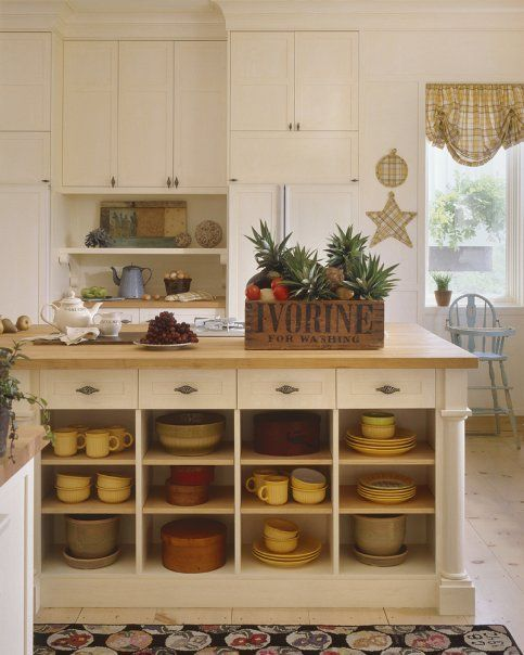 Love open shelving in island.