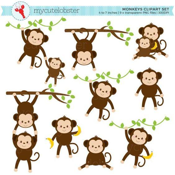 Monkeys Clipart Set Clip Art Set Of Cute Monkeys Monkey Etsy In 2021 Cute Monkey Monkey Crafts Clip Art
