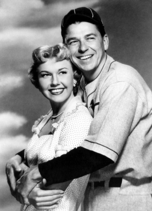Doris Day and Ronald Reagan publicity photo for 'The Winning Team', 1952.