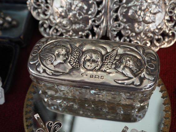 Antique silver box at Adams Antiques Fair, London