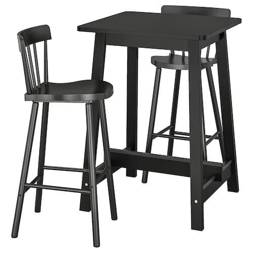 Jokkmokk Bar Table And 4 Bar Stools Black Brown Bar Table Bar