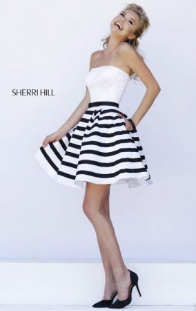 Sherri Hill 32200 Striped Strapless Openn Back White/Black Prom Dress 2015