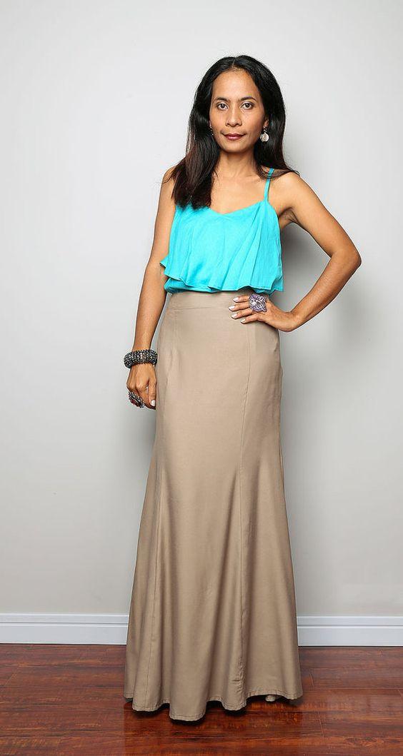 Fishtail skirt Long Light Brown Maxi Skirt Feel Good by Nuichan ...