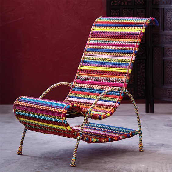 The craftbyworldmarket hand spun rope chair is handwoven for Different color chairs