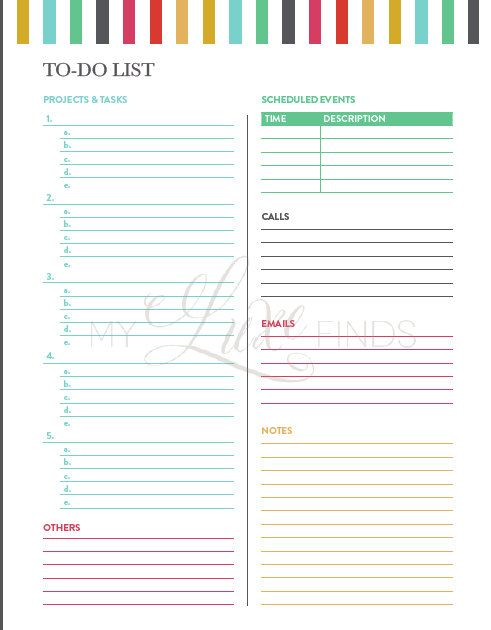 FP UNplan Planner Page Printables PDF 375 x 675 by MissTiina - daily task sheet