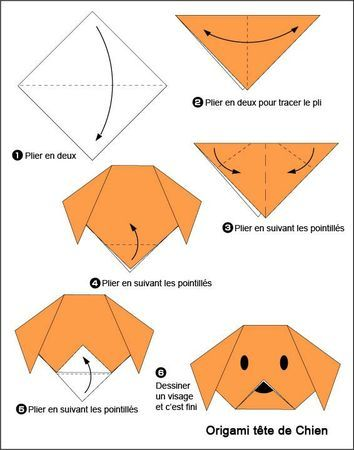 Origami facile chien activit manuell pinterest - Origami facile en video ...