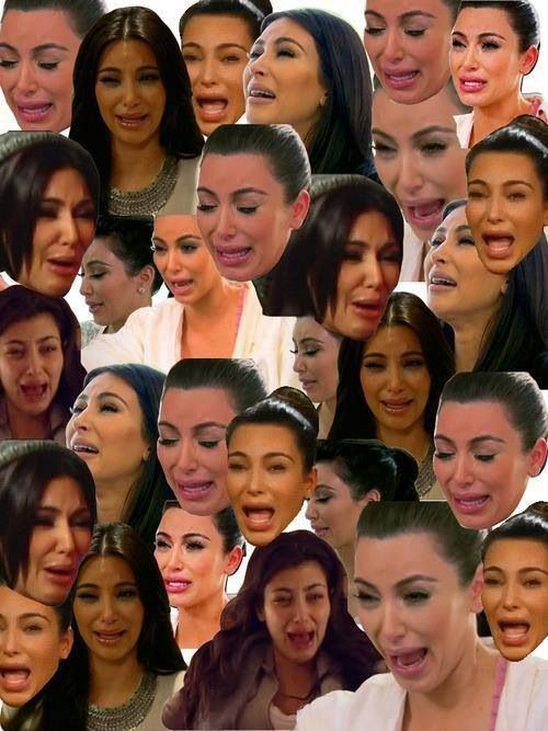 LMFAO HER EYES AND LIPS ARE TO TIGHT FOR HER TO CRY COMFORTABLY. . . Kim Kardashian's crying face..: