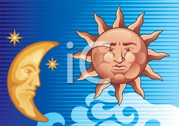 iCLIPART - Royalty Free Clipart Image of a Decorative Sun and Moon