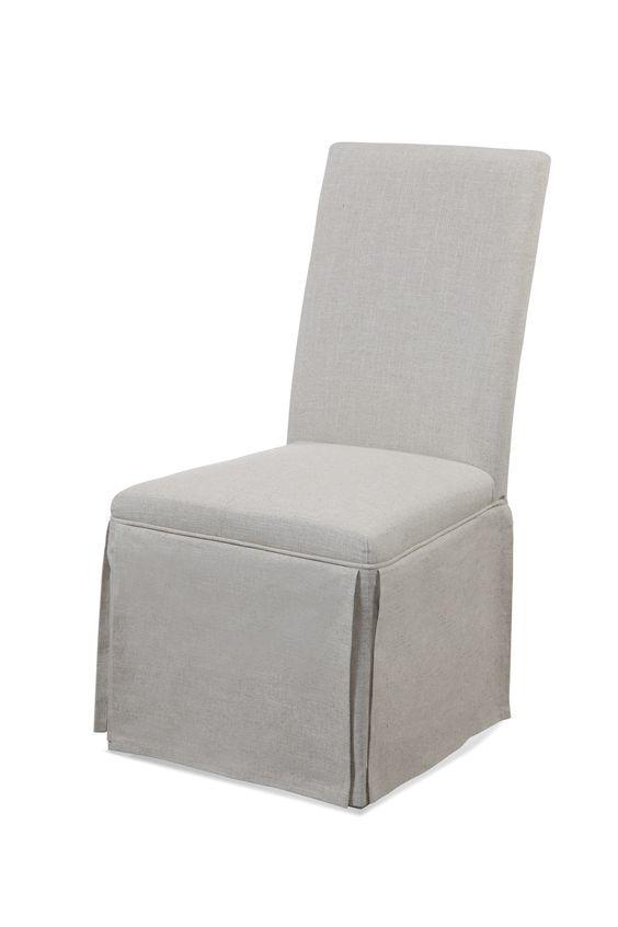 Bassett Mirror Skirted Parsons Chair, Grey Linen [DPCH8-746EC]