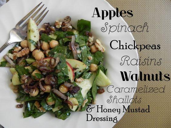 Spinach chickpea honey mustard salad