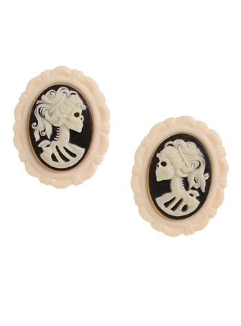"""Noir Goth Lolita Cameo Earrings An homage to the Victorian era, this wickedly unique pair of """"Goth Lolita"""" earrings features a matte black and ivory skeleton girl cameo set into a matte ivory scalloped edge frame, with stainless steel ear posts attached to the back."""