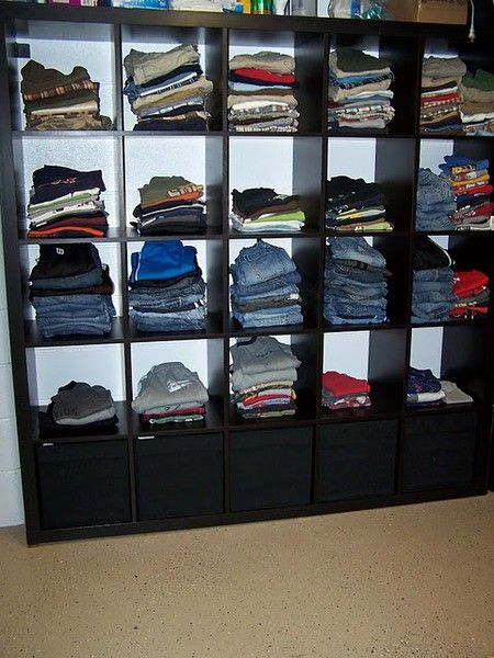 mother of 6 boys use ikea's expedit in laundry room for all their clothes....no dressers in bedrooms....interesting! shawnat04