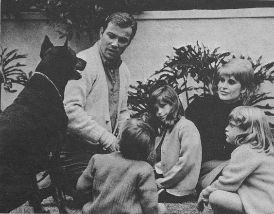 william shatner with family and doberman william shatner