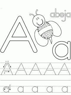 Fichas de caligrafia para ni os el abecedario colorear - Actividades para ninos pequenos ...